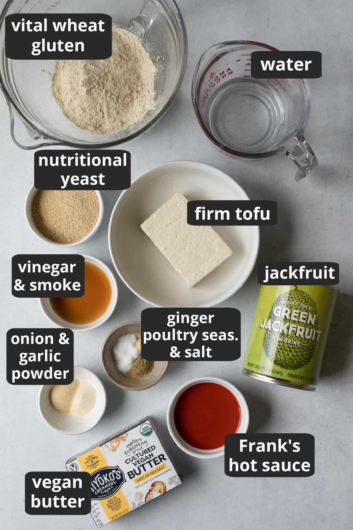 labeled photo of the ingredients needed to make the recipe.