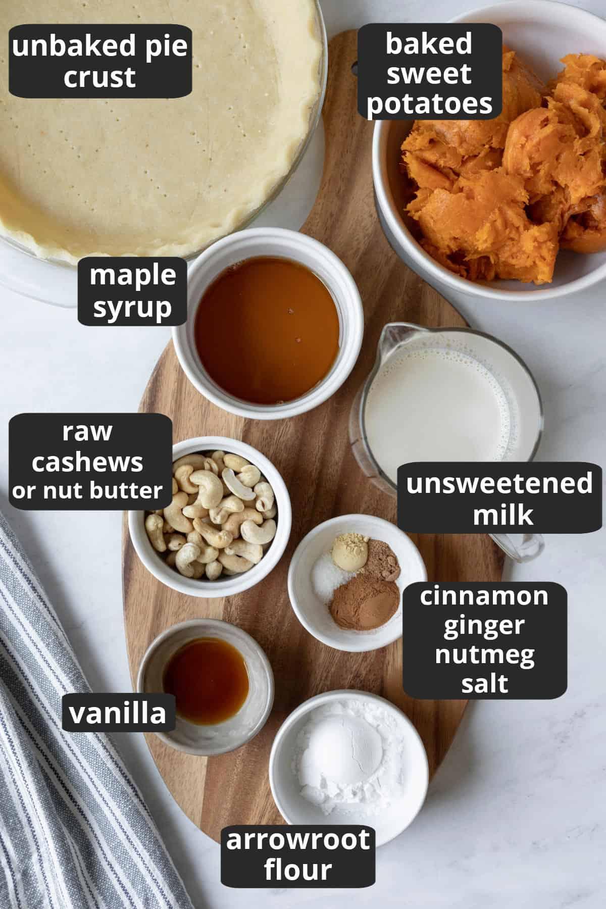 labeled photo of the 11 ingredients needed to make vegan sweet potato pie.