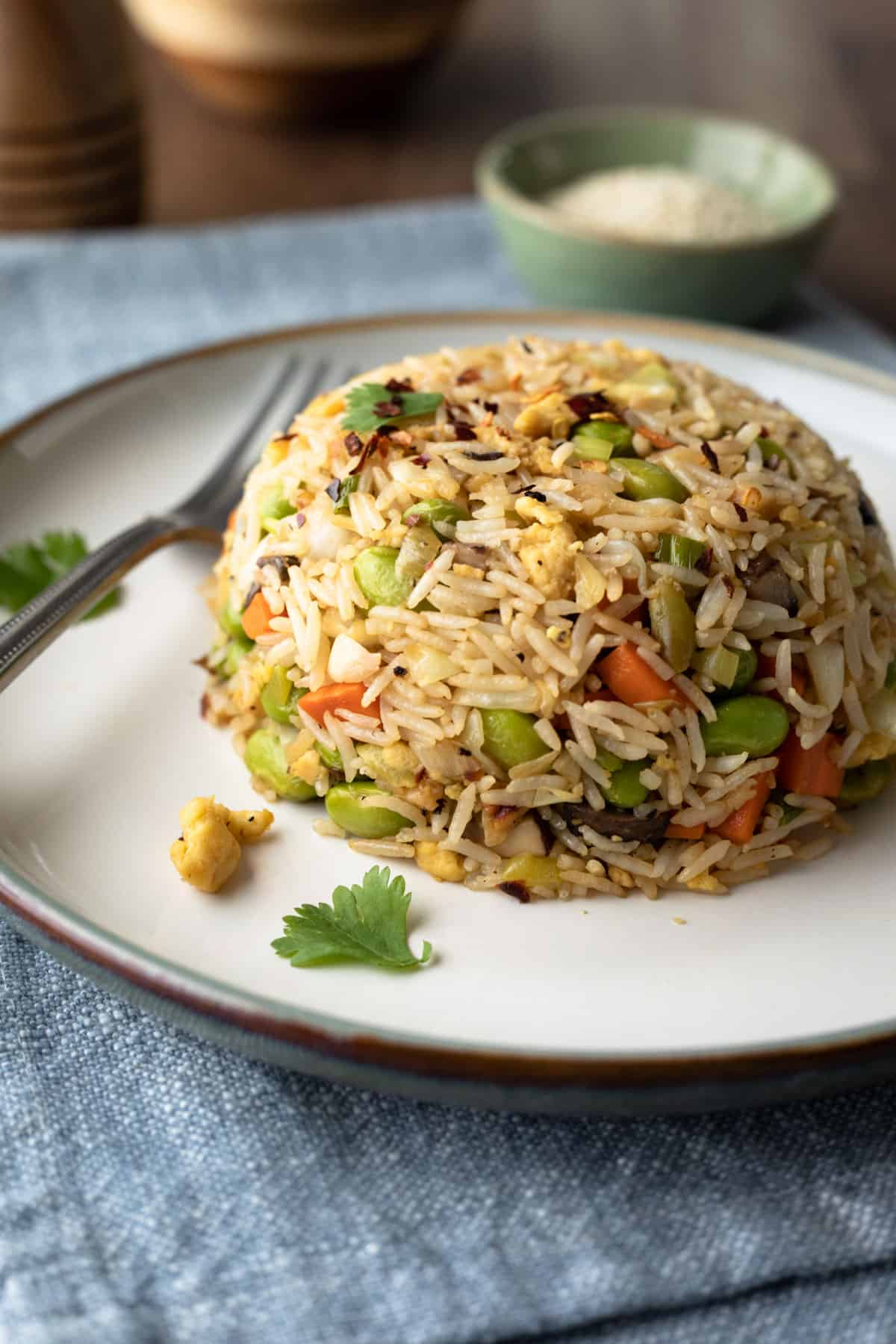 colorful vegan rice on a white plate with sesame seeds in background.