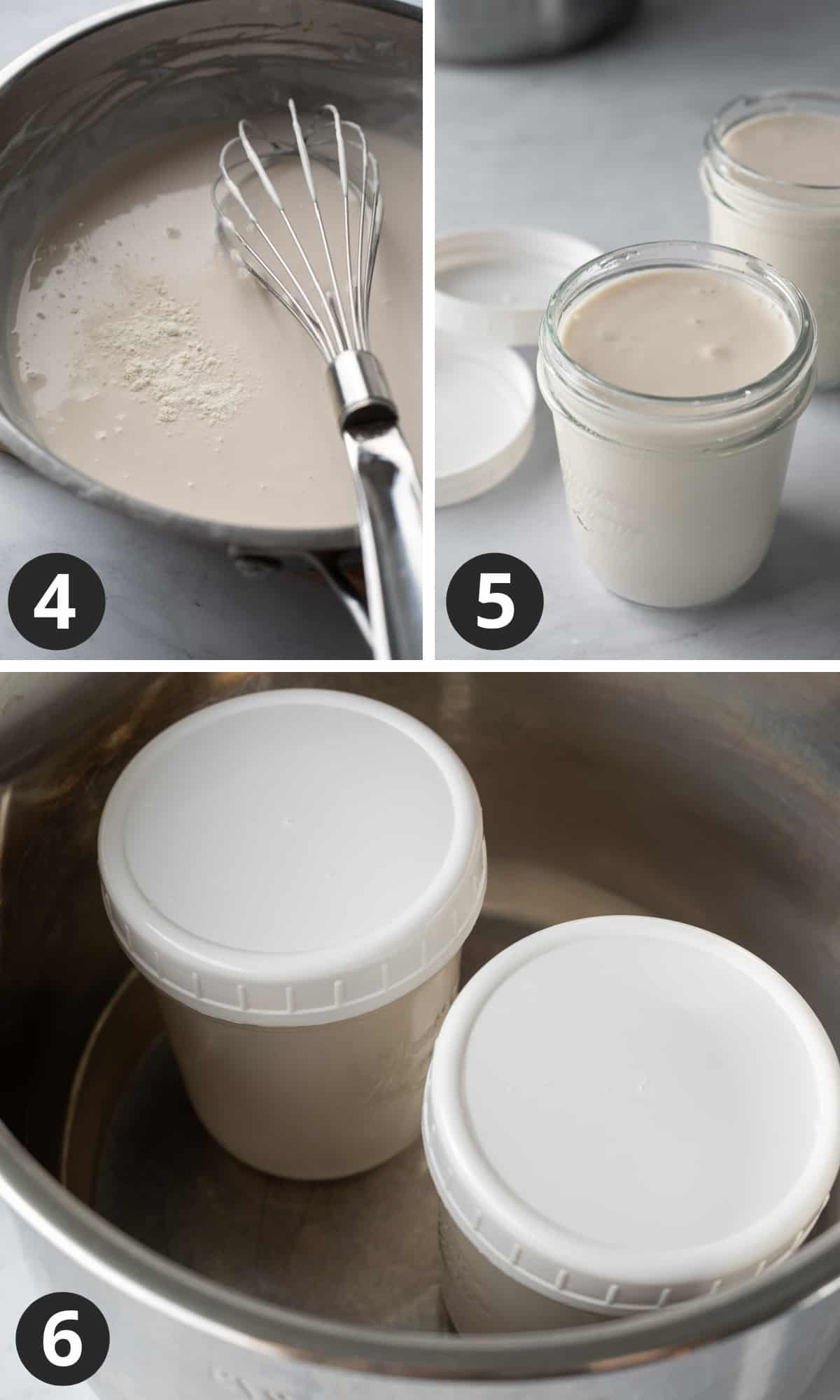 a 3-photo collage adding probiotic to heated almond milk, then culturing in jars.