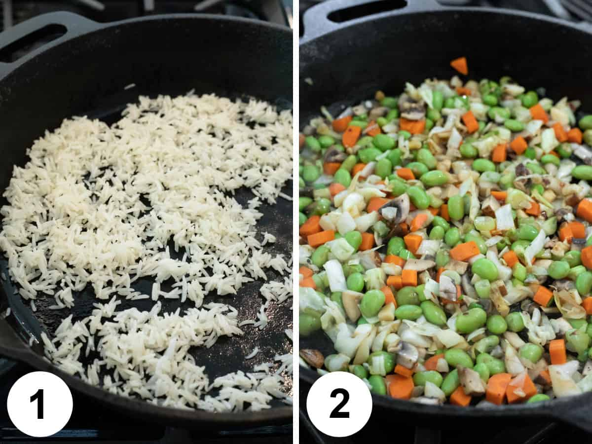 2 photos showing how to make fried rice and adding vegetables to pan.