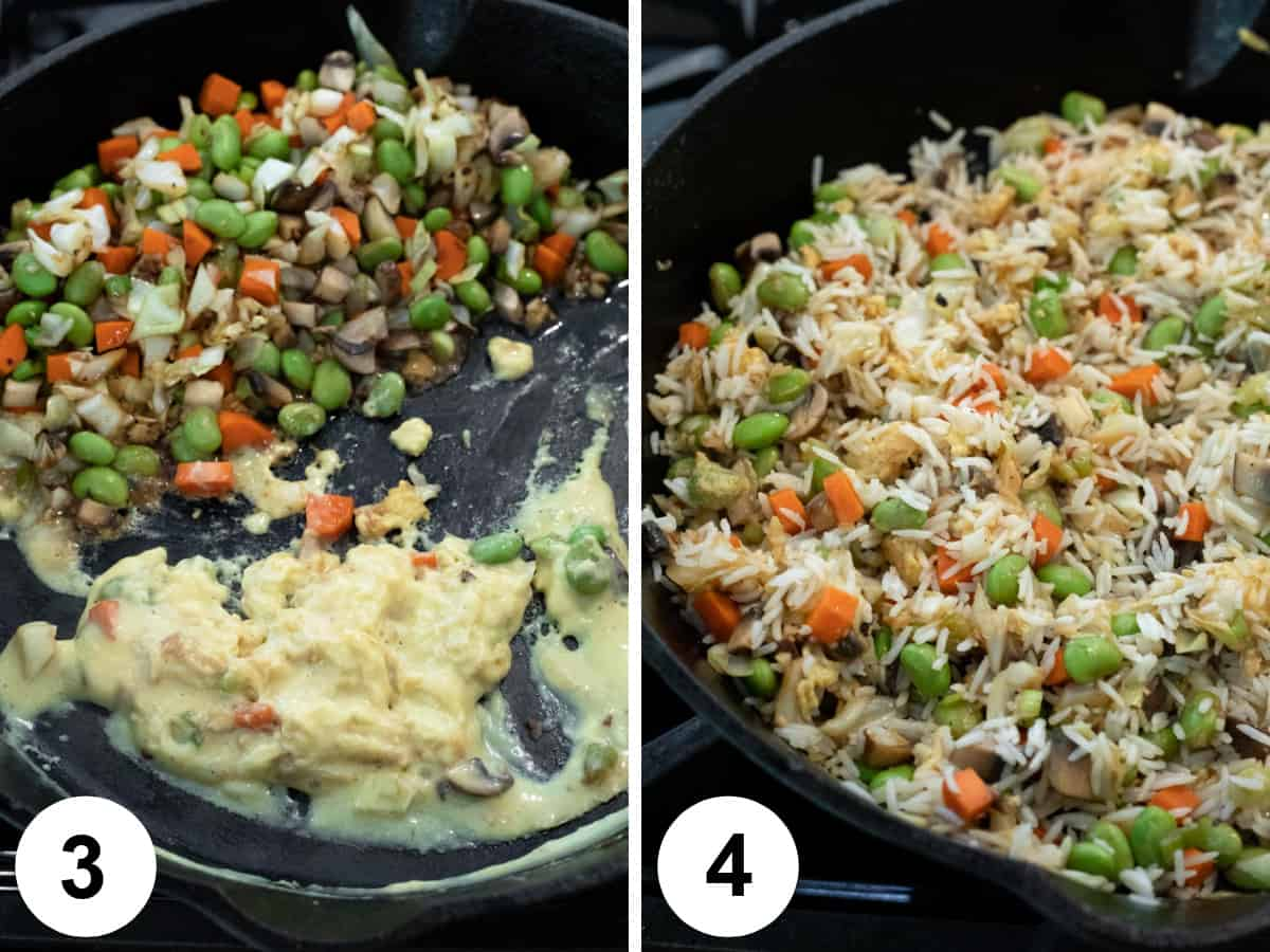2 photos showing adding Just Egg to pan and incorporating into fried rice.