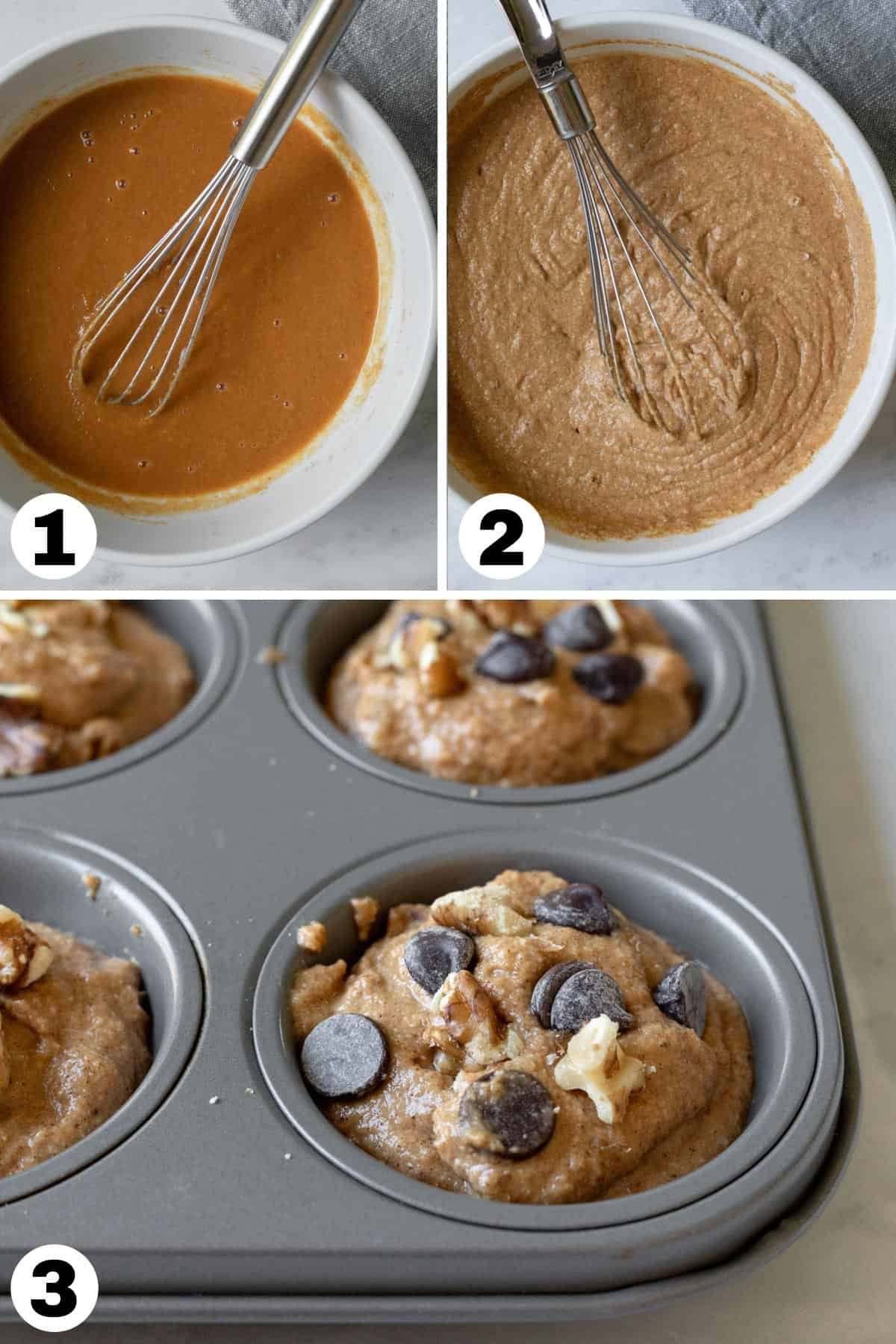 3-photo collage showing mixing muffin batter and in pan.