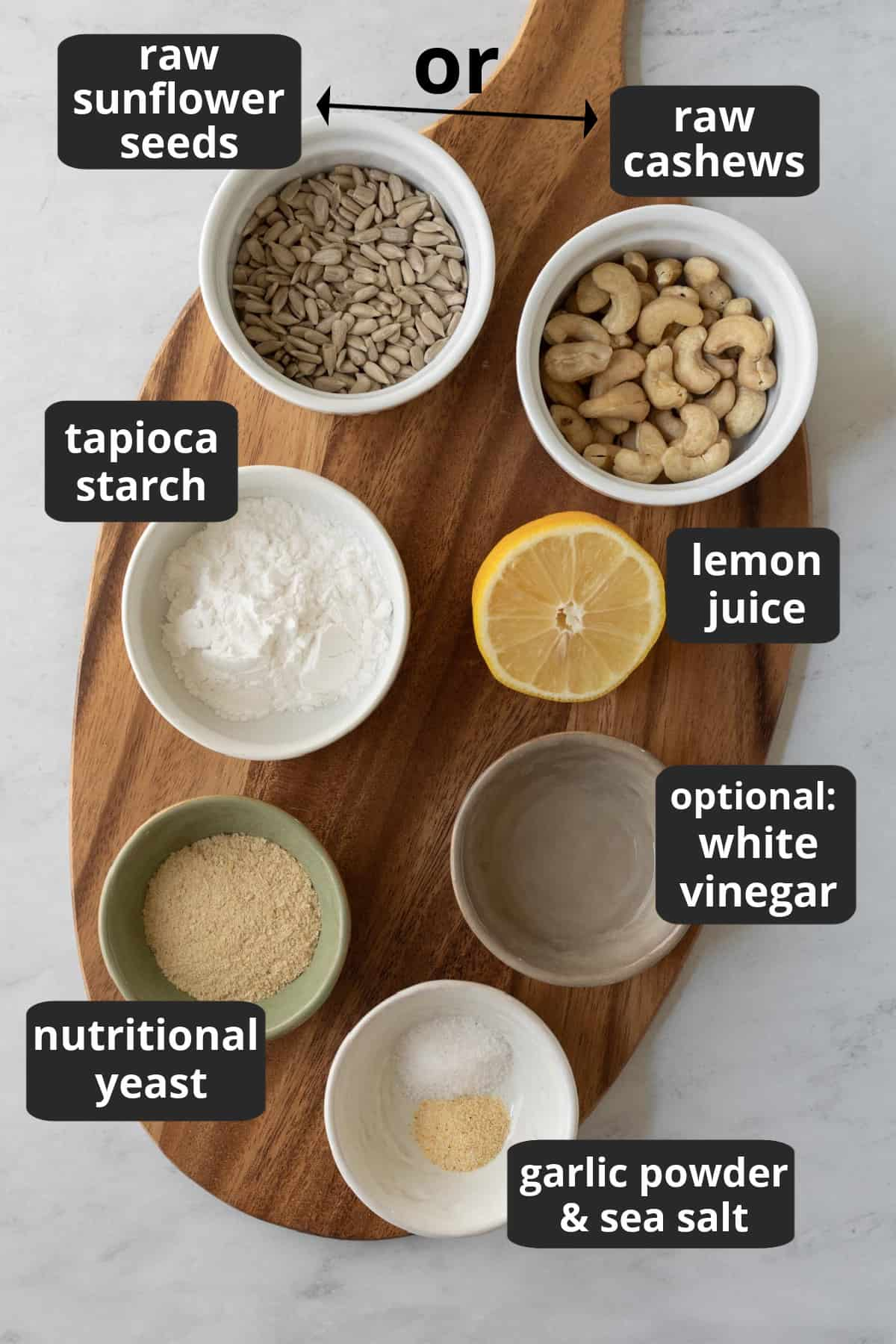 labeled photo of the ingredients needed.