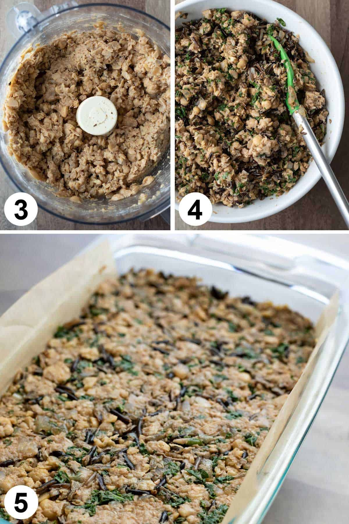 a 3-photo collage showing processing chickpea mixture, adding wild rice, and in loaf pan.